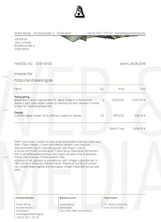 invoice print out one page